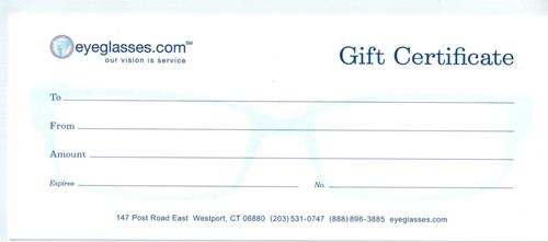 Eyeglasses.com Gift Certificate
