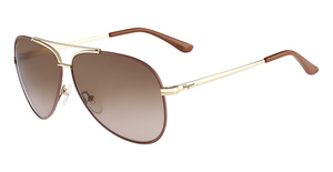 Salvatore Ferragamo SF131S (731) Shiny Gold W/Light Brown Ename