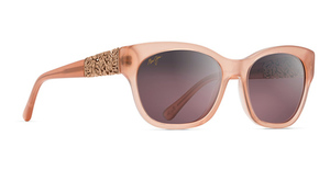 Maui Jim Monstera Leaf 747 Guava Pink With Rose Gold Monstera