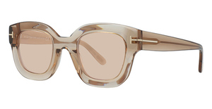 Tom Ford FT0659 shiny light brown / brown mirror
