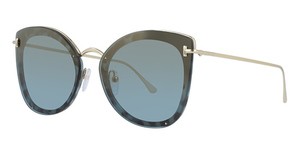 Tom Ford FT0657 coloured havana / blu mirror