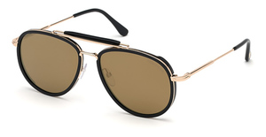 Tom Ford FT0666 shiny black / brown mirror