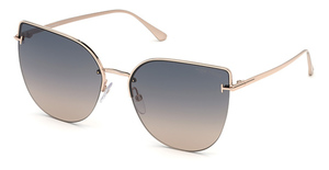 Tom Ford FT0652 shiny rose gold / gradient smoke