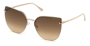 Tom Ford FT0652 Shiny Rose Gold / Gradient Brown