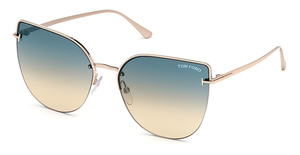 Tom Ford FT0652 shiny rose gold / gradient green