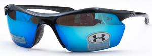 Under Armour Zone XL Shiny Black with Gray Polarized Blue Multiflection Lens