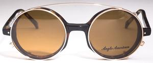 Anglo American AA400 Sunglass Clip Shiny Gold with Brown Lenses