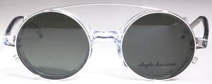 Anglo American AA400 Sunglass Clip Shiny Silver with Grey Lenses