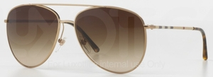 Burberry BE3072 Gold / Striped Temples with Brown Gradient Lenses