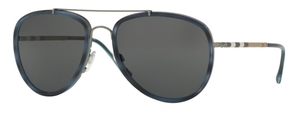 Burberry BE3090Q Brushed Gunmetal/Blue Ha