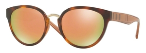 Burberry BE4249 Light Havana w/ grey mirror rose gold lenses