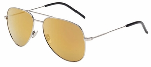 YSL Saint Laurent Classic 11 Shiny Silver with Gold Lenses