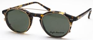 Anglo American AA406 Sunglass Clip Gold with Green G-15 Polarized Lenses