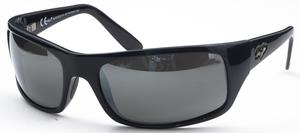 Maui Jim Peahi 202 Glossy Black with Grey Polarized Lenses