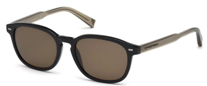 Ermenegildo Zegna EZ0005 Shiny Black with Polarized Roviex Lenses