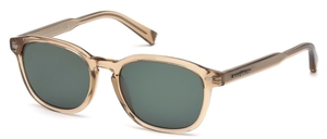 Ermenegildo Zegna EZ0005 Shiny Light Brown with Green Lenses