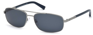 Ermenegildo Zegna EZ0012 Shiny Dark Ruthenium with Blue Lenses