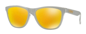 Oakley Frogskins OO9013 C1 Checkbox Silver with Fire Iridium Lenses