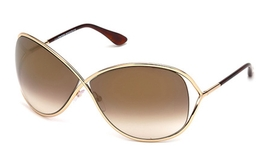 Tom Ford FT0130 Miranda Shiny Rose Gold with Brown Mirror Lenses