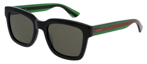 Gucci GG0001S Black with Green/Red Temples and Green Lenses