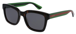 Gucci GG0001S Black with Green/Red Temples and Grey Lenses