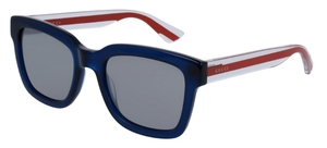 Gucci GG0001S Blue with Crystal/Red Temples and silver/Grey Lenses