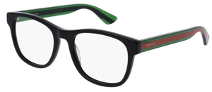 Gucci GG0004O Black with Green/Red Temples