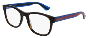 Gucci GG0004O Havana with Blue/Red Temples
