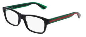 Gucci GG0006O Black with Green/Red Temples 002