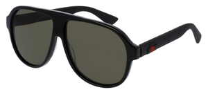Gucci GG0009S Black with Polarized Green Lenses
