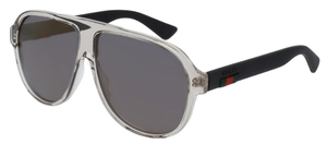 Gucci GG0009S Crystal Grey with Black Temples and Bronze Flash Mirror Lenses