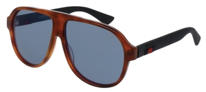 Gucci GG0009S Tortoise with Black Temples and Blue Lenses