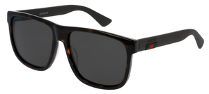 Gucci GG0010S Dark Tortoise with Black Temples and Polarized Grey Lenses