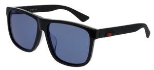 Gucci GG0010SA Black with Blue Mirror Lenses