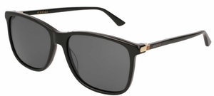 Gucci GG0017S Black with Polarized Grey Lenses