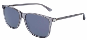 Gucci GG0017S Transparent Grey with Grey Silver Mirror Lenses