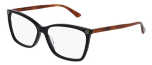 Gucci GG0025O Black with Havana Temples