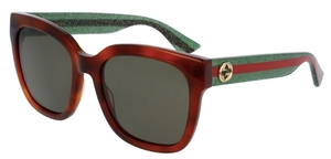 Gucci GG0034S Havana Tortoise with Green Lenses