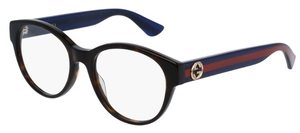 Gucci GG0039O Dark Havana with Blue/Red Temples