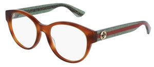 Gucci GG0039O Light Havana with Green/Red Temples