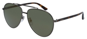 Gucci GG0043SA Gunmetal with Green Lenses