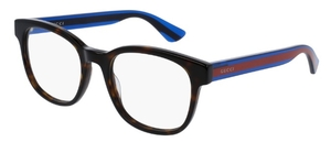 Gucci GG0005O Havana with Blue/Red Temples