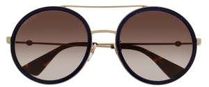 Gucci GG0061S Gold/Black with Brown Gradient Lenses