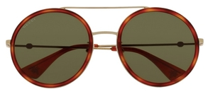 Gucci GG0061S Gold/Havana with Green Lenses