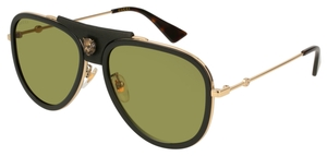 Gucci GG0062S Black/Gold with Green Lenses