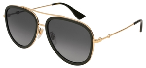 Gucci GG0062S Black/Gold with Polarized Grey Gradient Flash Mirror Lenses