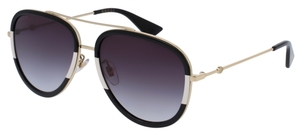 Gucci GG0062S Black/White/Gold with Grey Gradient Lenses