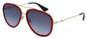 Gucci GG0062S Burgundy/Gold with Blue Gradient Lenses