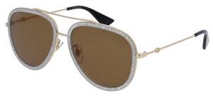 Gucci GG0062S Grey Sparkle/Gold with Brown Lenses