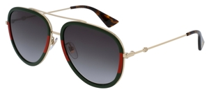 Gucci GG0062S Red/Green/Gold with Green Gradient Lenses